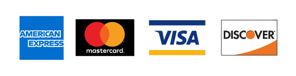 American Express, Mastercard, Visa and Discover accepted