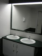 sinks in a restroom trailer