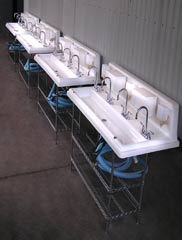 row of sinks