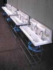row of sinks