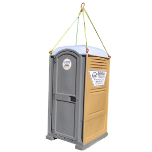portable restroom hanging from straps