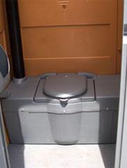 inside of portable restroom