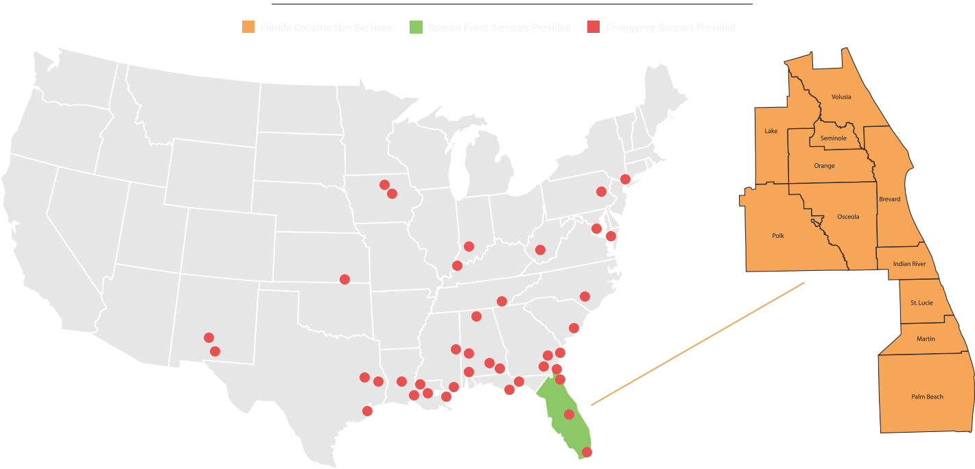 map of the US with an excerpt of Florida highlighted