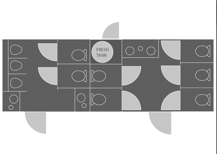 portable restoom trailer layout