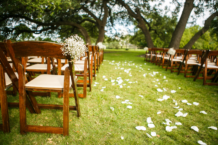 empty chairs at wedding venue