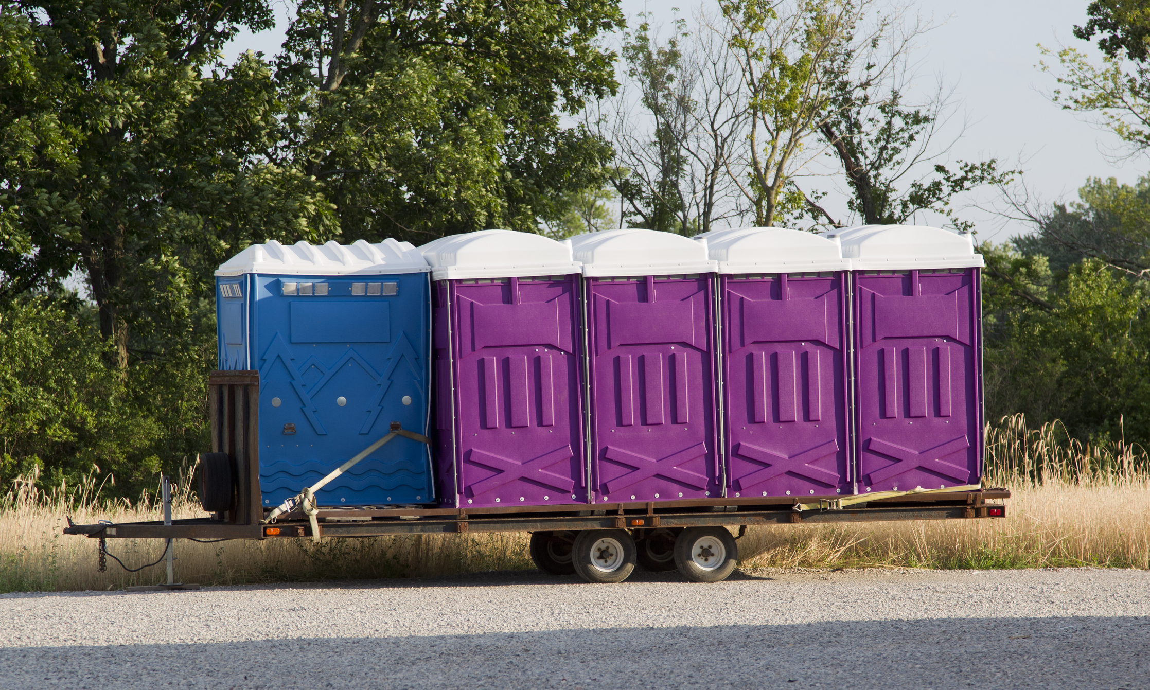 A set of blue and purple porta potty toilets on a trailer ready to be shipped to an event.