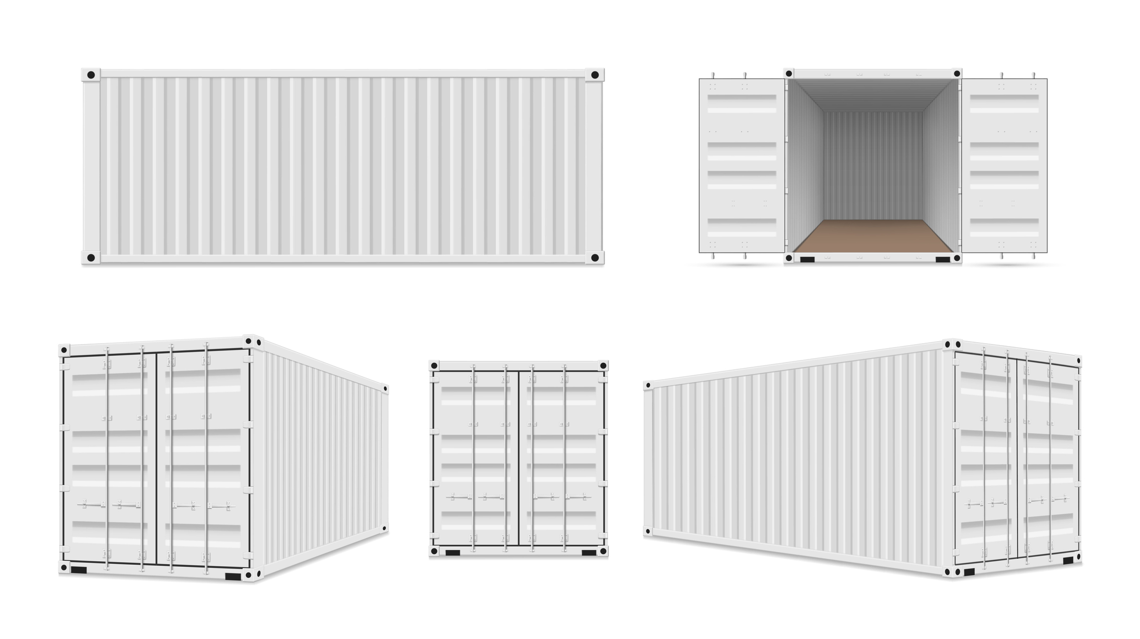 white conex box shown from different angles